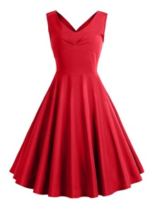 50s Solid Circle Dress