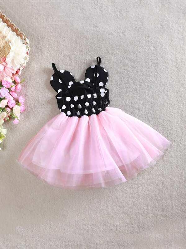 1e436914eb Toddler Girls Contrast Mesh Polka Dot Cami Dress | SHEIN