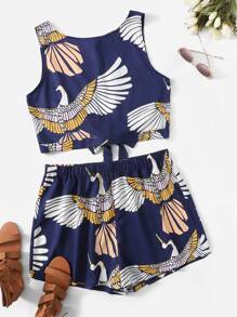 Plus Bird Print Knot Back Top With Shorts