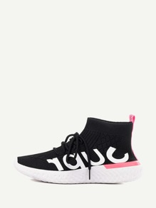 Lace-up Knit High Top Sneakers