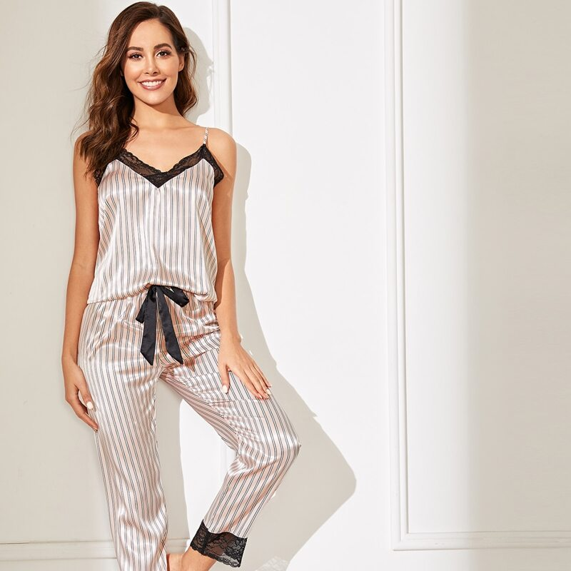 Lace Trim Satin Cami Top & Striped Pants PJ Set, Multicolor