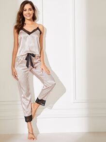 Lace Trim Satin Cami Top & Striped Pants PJ Set