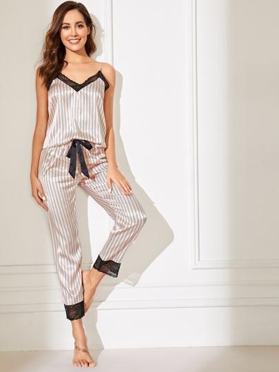 8432fe95d67 Lace Trim Satin Cami Top   Striped Pants PJ Set