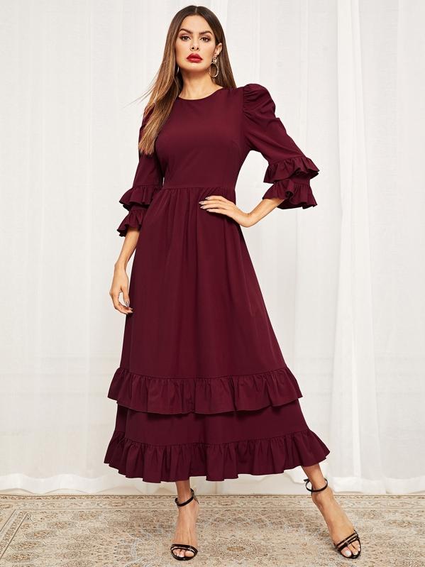 fd200d1ea7 Puff Sleeve Tiered Ruffle Dress | SHEIN UK