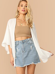 Drop Shoulder Scallop Edge Rib-knit Kimono