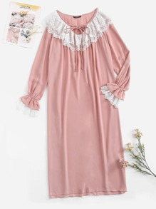 Tie Neck Contrast Lace Detail Bell Sleeve Nightdress