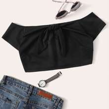 Off Shoulder Knotted Front Crop Tee