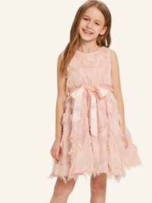 Girls Tiered Fringe Patched Bow Tied Dress