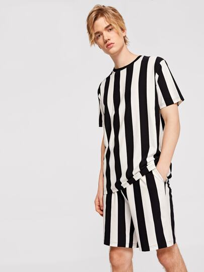 Guys Wide Stripe Two-tone Top & Shorts Set