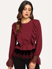 Embroidery Mesh Trim Ruffle Blouse