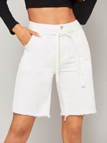 Waist Belted Solid Denim Shorts