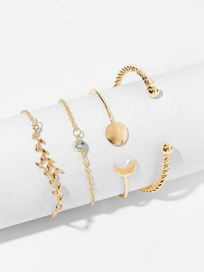 Moon & Spiral Detail Bracelet Set 4pcs