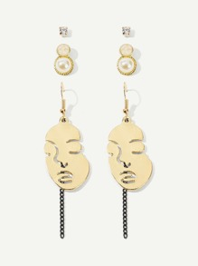 Face Design Drop Earrings Set 3pairs