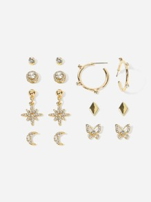 Rhinestone Butterfly & Moon Stud Earrings 7pairs