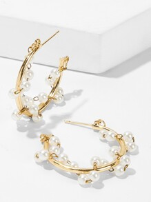 Faux Pearl Decorated Cut Hoop Earrings 1pair