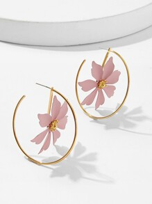 Flower Decorated Hoop Earrings 1pair