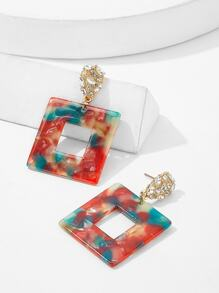 Marble Pattern Open Square Drop Earrings 1pair
