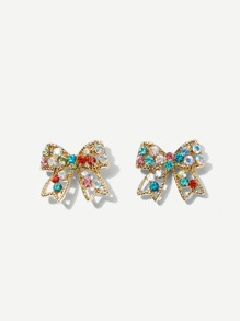 Rhinestone Engraved Bow Stud Earrings 1pair