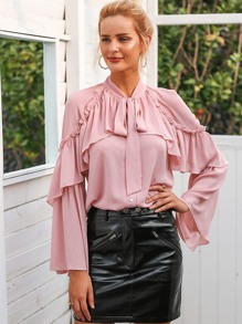 Chiffon Tie Neck Flounce Sleeve Ruffle Decoration Shirt