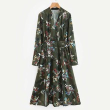 Floral Print Slit Hem Shirt Dress