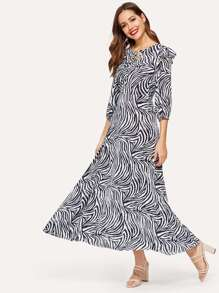 Zebra Stripe Tie Neck Bishop Sleeve Dress