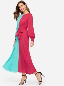 Color Block Waist Tie Shirred Cuff Dress
