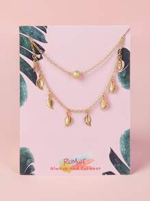 Leaf Charm Chain Anklet 1pc