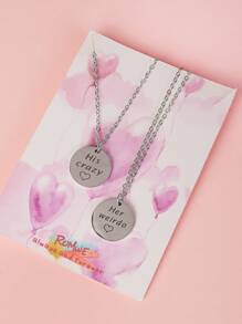 Letter Engraved Disc Pendant Necklace 2pcs