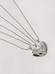 Heart Design Pendant Necklace 3pcs