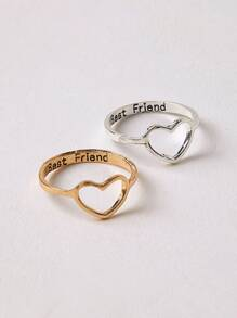 Hollow Heart Decor Ring 2pcs