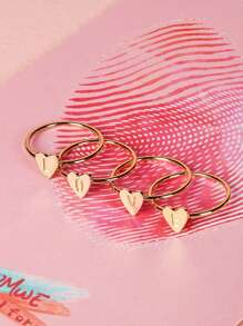 Heart Design Letter Engraved Ring Set 4pcs