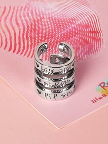 Letter Engraved Cuff Ring Set 3pcs