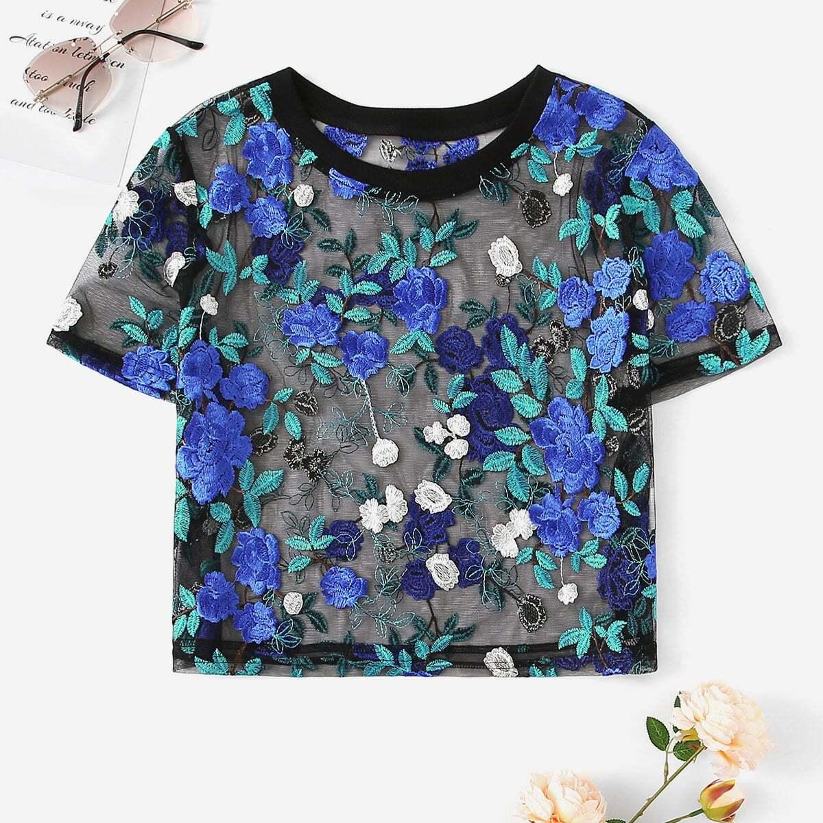 Прозрачная сетчатая блузка с цветочной вышивкой