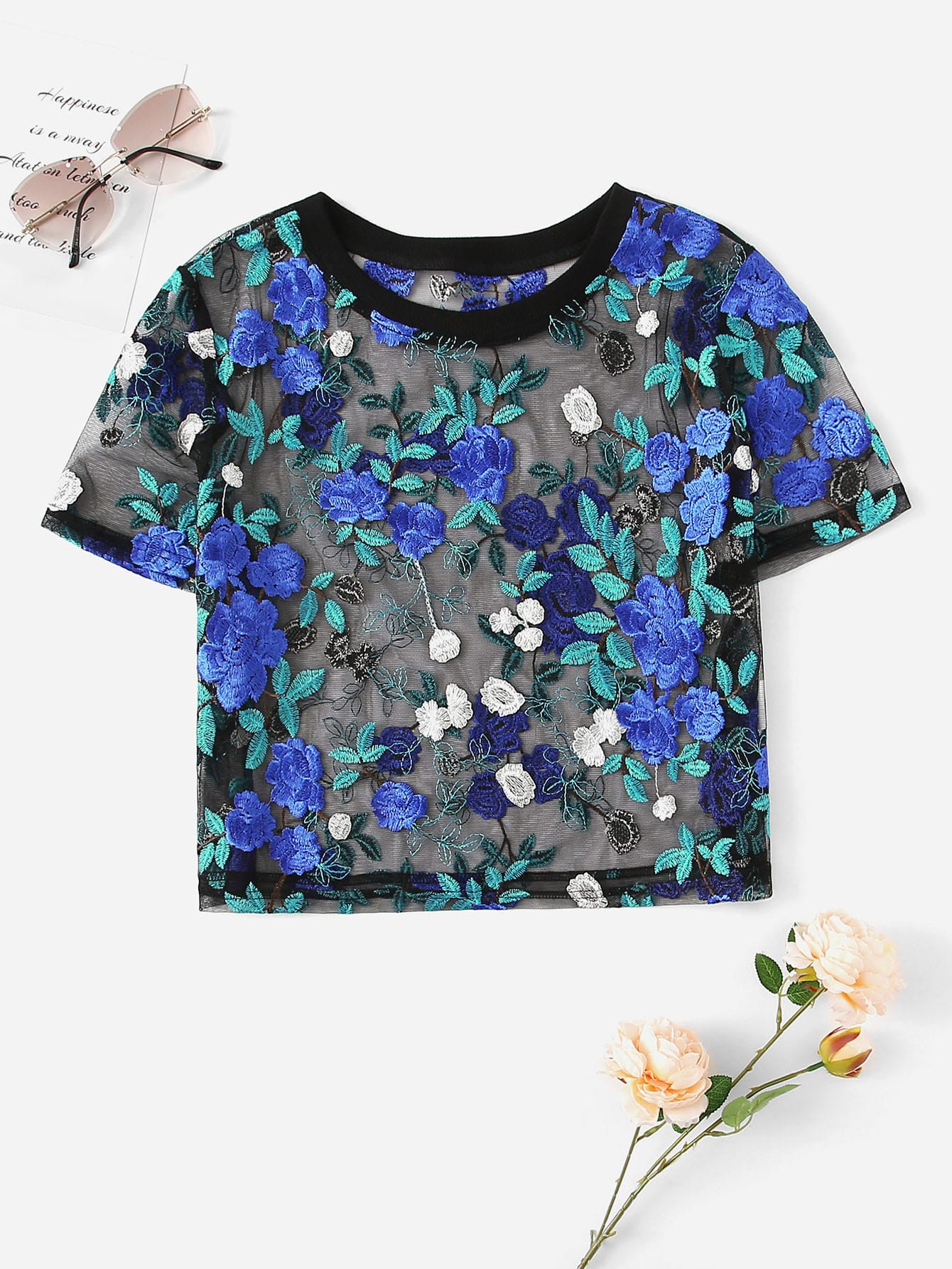 d5ebbef5614b3 Floral Embroidery Sheer Mesh Top