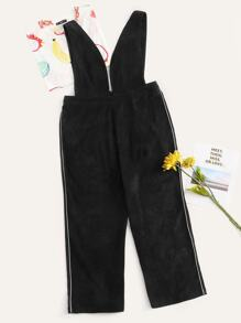 Plus Plunging Neck Contrast Piping Jumpsuit