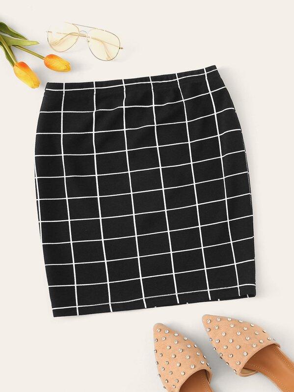 dddecc30fc Grid Bodycon Skirt | SHEIN UK