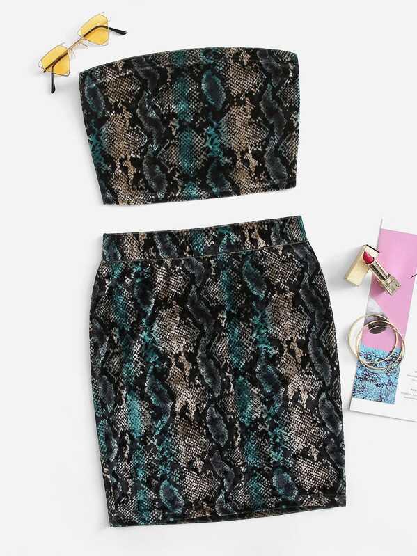 Snakeskin Print Velvet Bandeau Top & Skirt Set by Shein