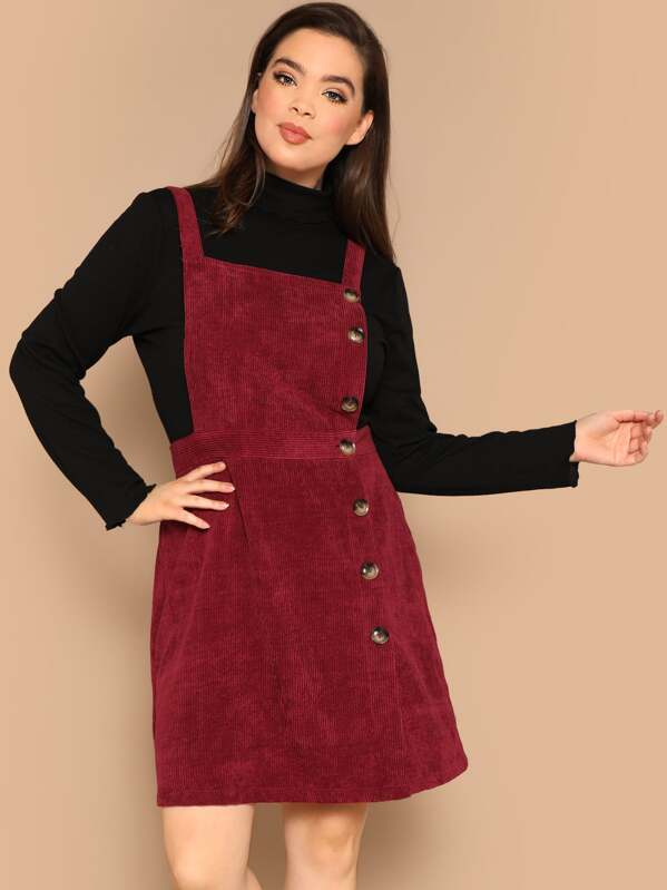 Plus Button Front Corduroy Pinafore Dress | SHEIN
