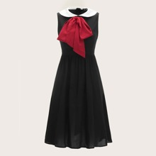 50s Exaggerated Bow Tie Peter Pan Flare Dress