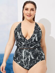 Plus Marble Print Knot Back One Piece Swimsuit