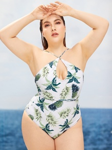 Plus Tropical Print Criss Cross One Piece Swimsuit