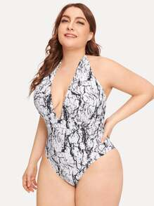 Plus Marble Print Deep-V One Piece Swimsuit