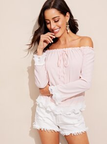 Off Shoulder Frill Trim Pleated Detail Top