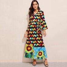 Choker Neck Bell Sleeve Geo & Sunflower Dress
