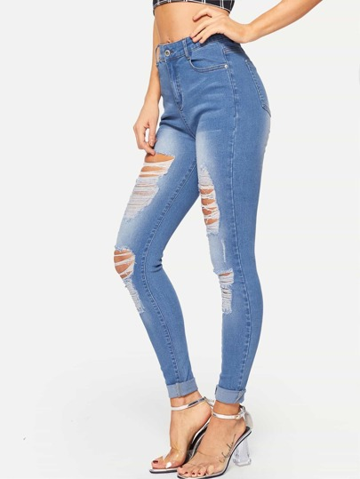 Destroyed Ripped Bleach Wash Jeans