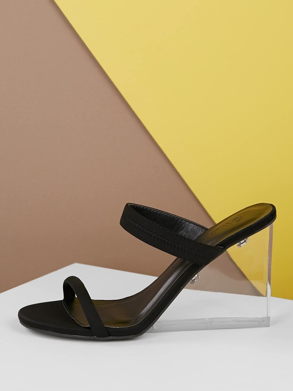 0b423ba573e Stretch Band Open Toe Transparent Wedge Sandals