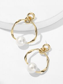 Faux Pearl Detail Hoop Drop Earrings 1pair