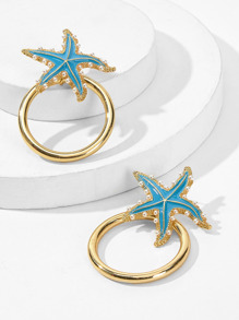 Starfish Decor Hoop Earrings 1pair