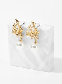 Faux Pearl Decor Branch Drop Earrings 1pair