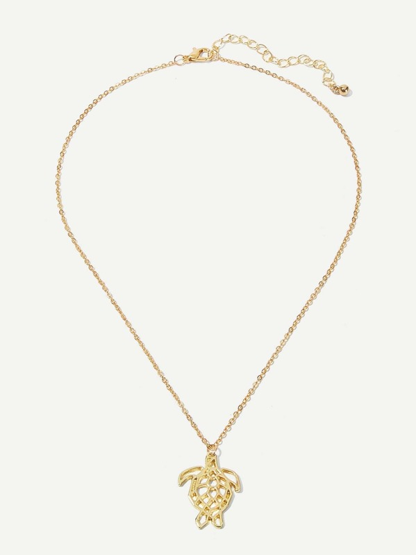 eca120e0a3 Hollow Tortoise Pendant Chain Necklace 1pc | SHEIN
